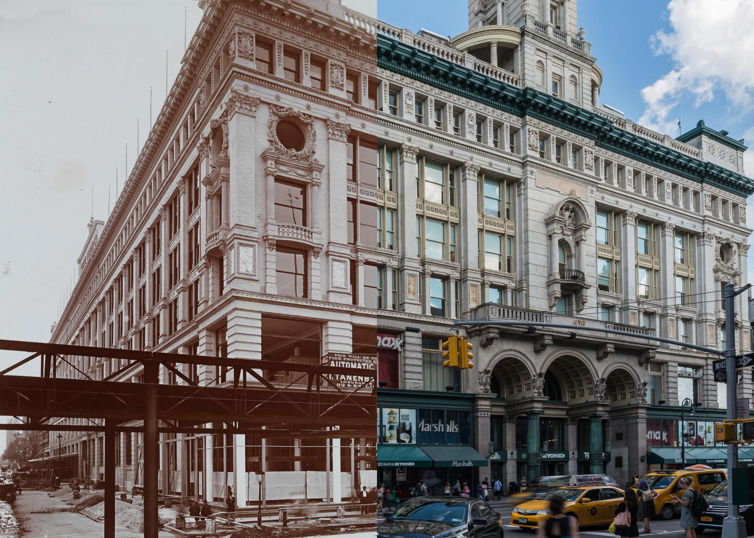 Siegel Cooper Co., 1896 by the Byron Company via MCNY  (left) & 632 Sixth Avenue, 2014 by Harlan Erskine.  Click here for the then and now image.