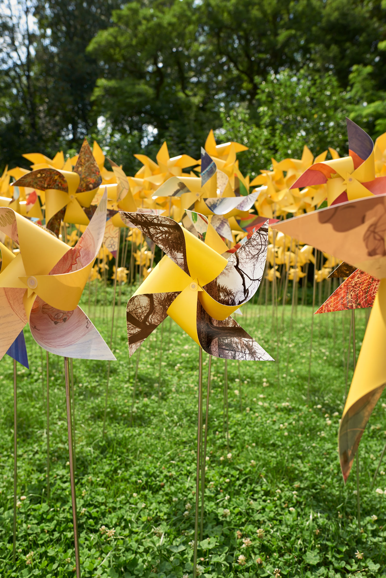 My contrabution , Spring Arboretum Reflection , folded into a pinwheel at the Connective Project in Prospect Park, Brooklyn. Image © harlan erskine