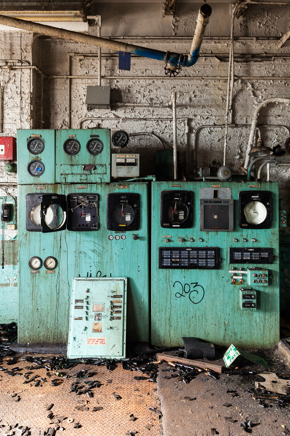 From my series    Sugar Decay,  Domino Sugar Factory,  Wash House Control Panel in the Raw Sugar Wash House . © harlan erskine.