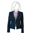 Scarf top under a suit jacket. (Jacket by Giorgio Armani).