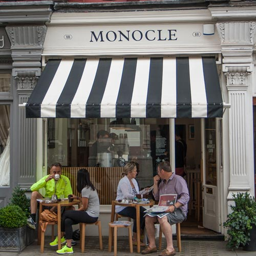 Monocle coffee shop, London, opposite the firehouse, and always busy. V. pretty yes?