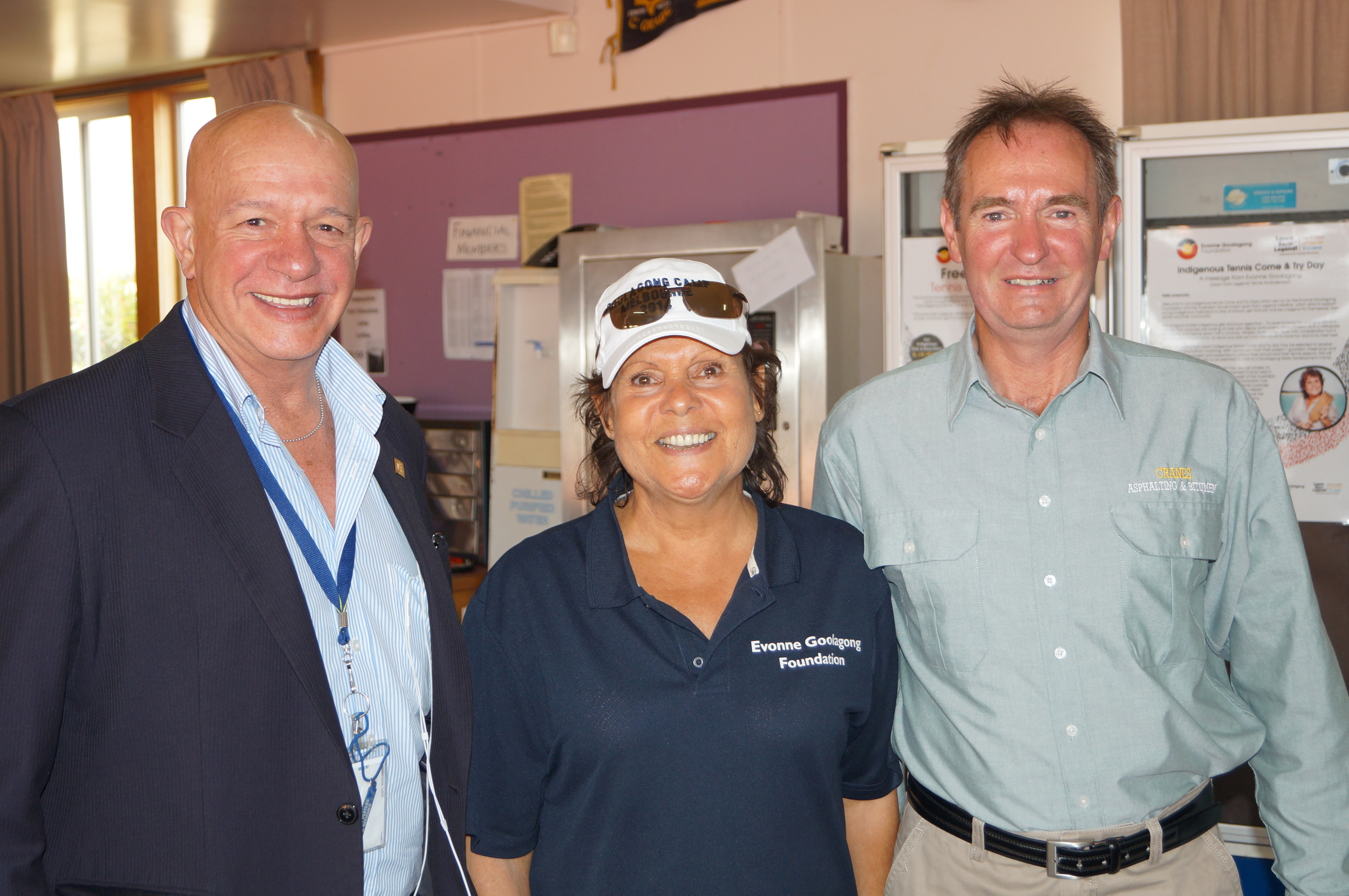 Left Local Mayor Peter Neal, Evonne and David Downie the President of Bairnsdale Tennis Club