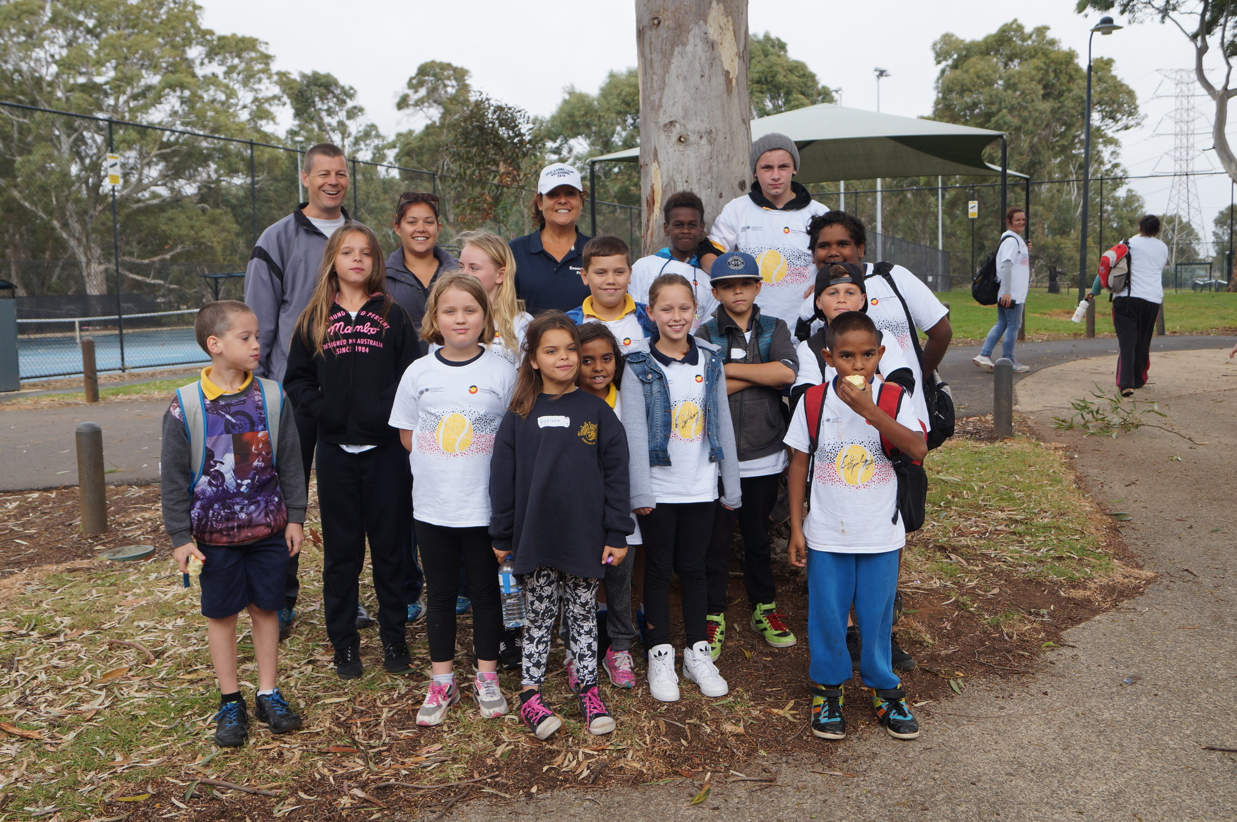 Our thanks to long time program supporter Head Master Steve Smith pictured with Evonne and his Elizabeth South Primary students at the Salisbury, SA C&T Day