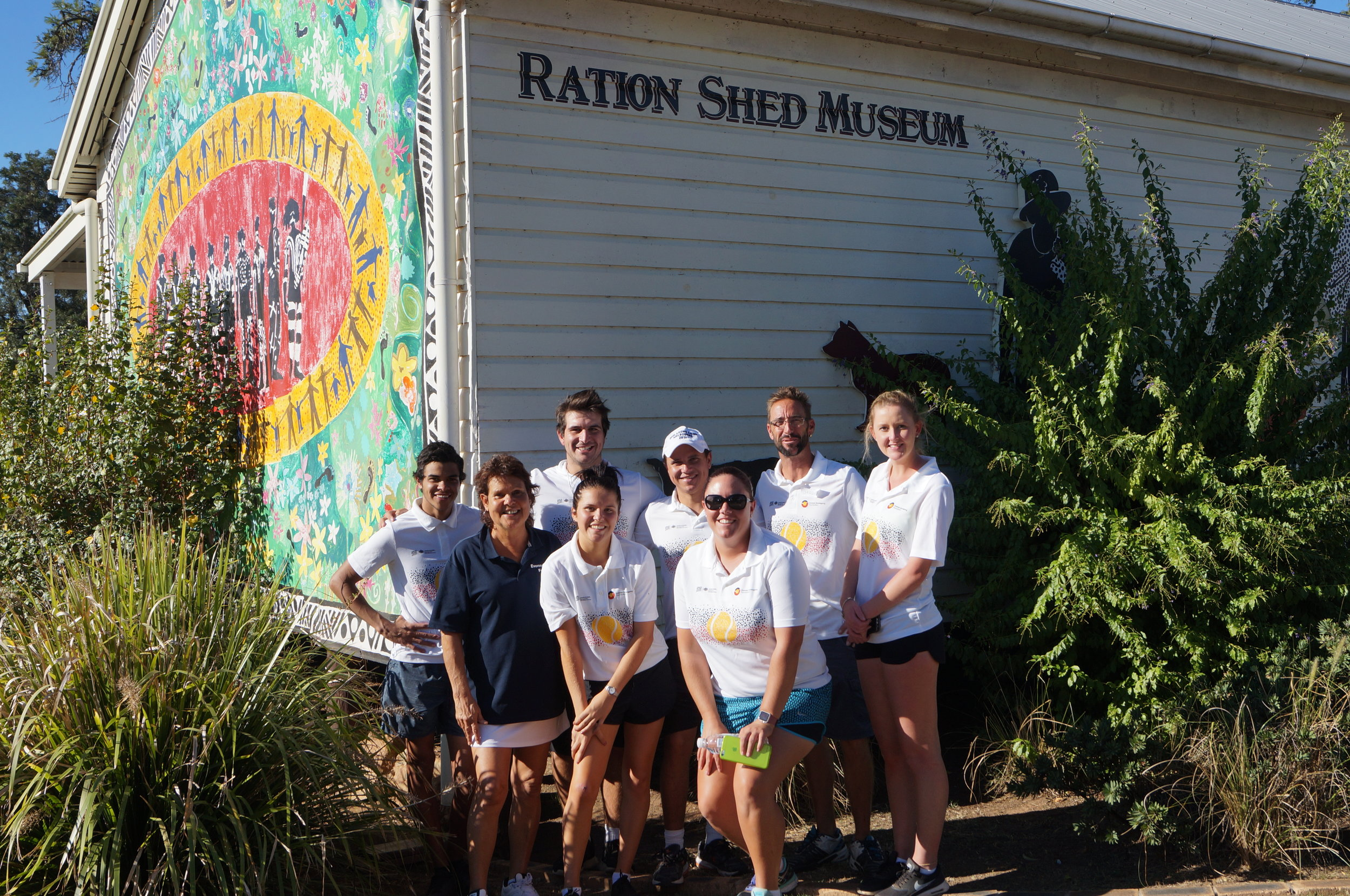 EGF crew for Murgon / Cherbourg - from left Baden, Evonne, Adam, Izzy, Anzac, Hayley, Jarred and Rhiannon