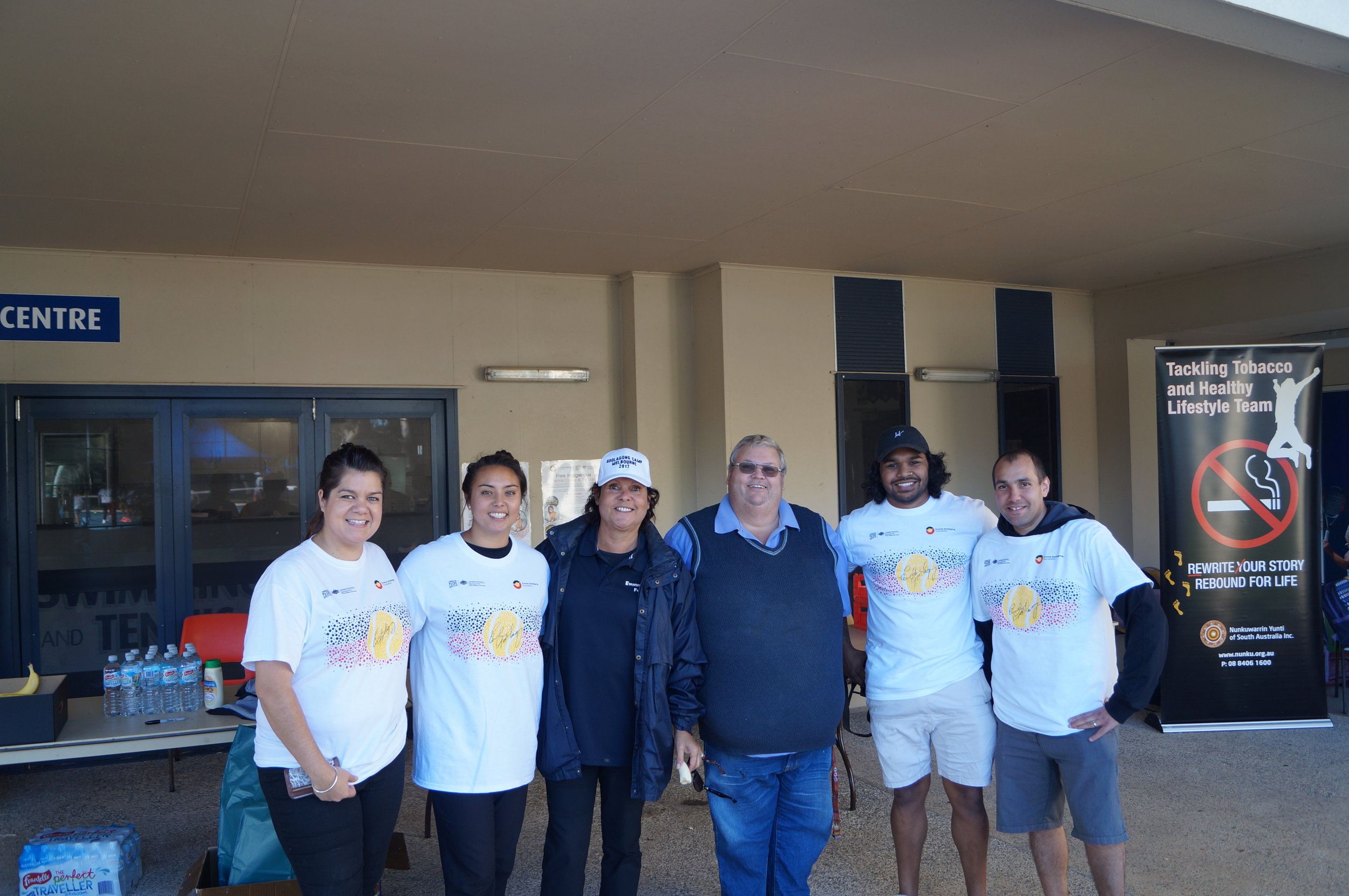 Thanks to our friends from the Aboriginal Health group Nunkuwarrin Yunti pictured here with Evonne. They provided  supplies for the kids and helped us serve our healthy lunch