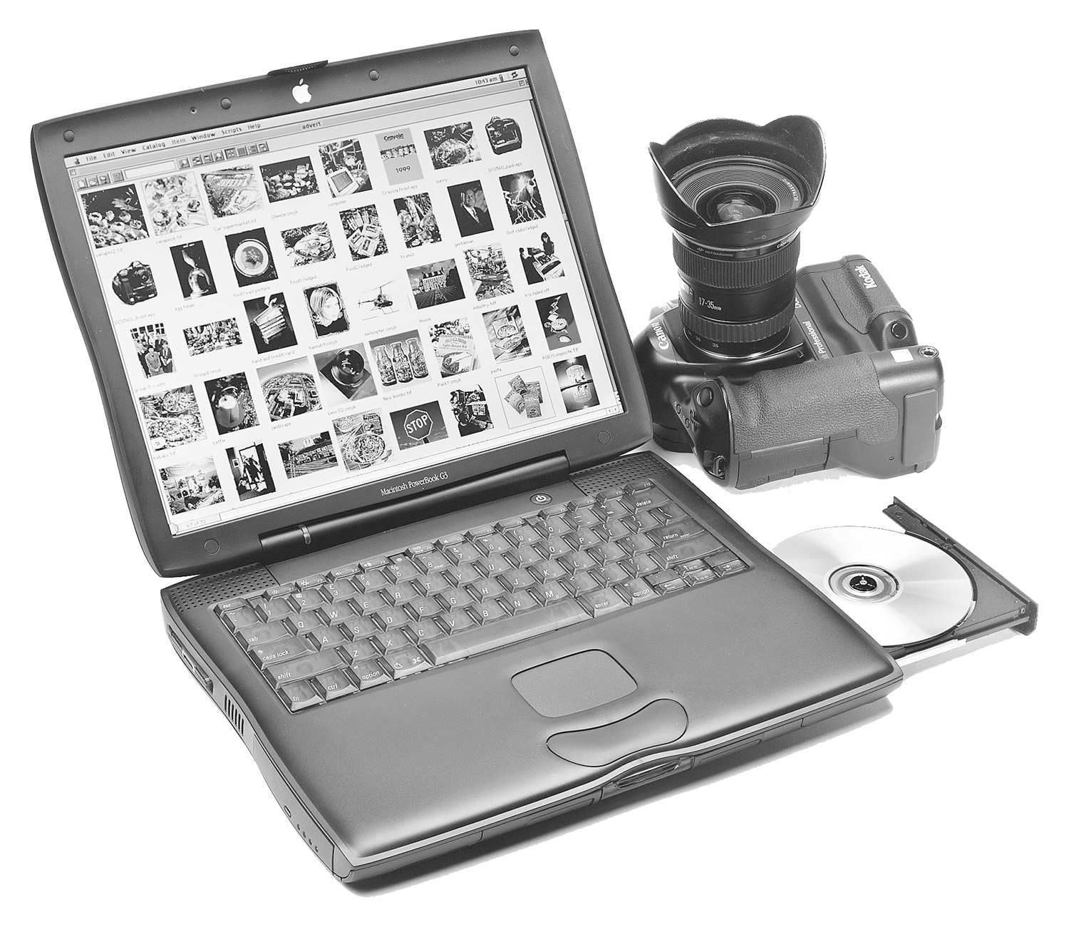 An early Macbook and Kodak DCS 560 digital camera