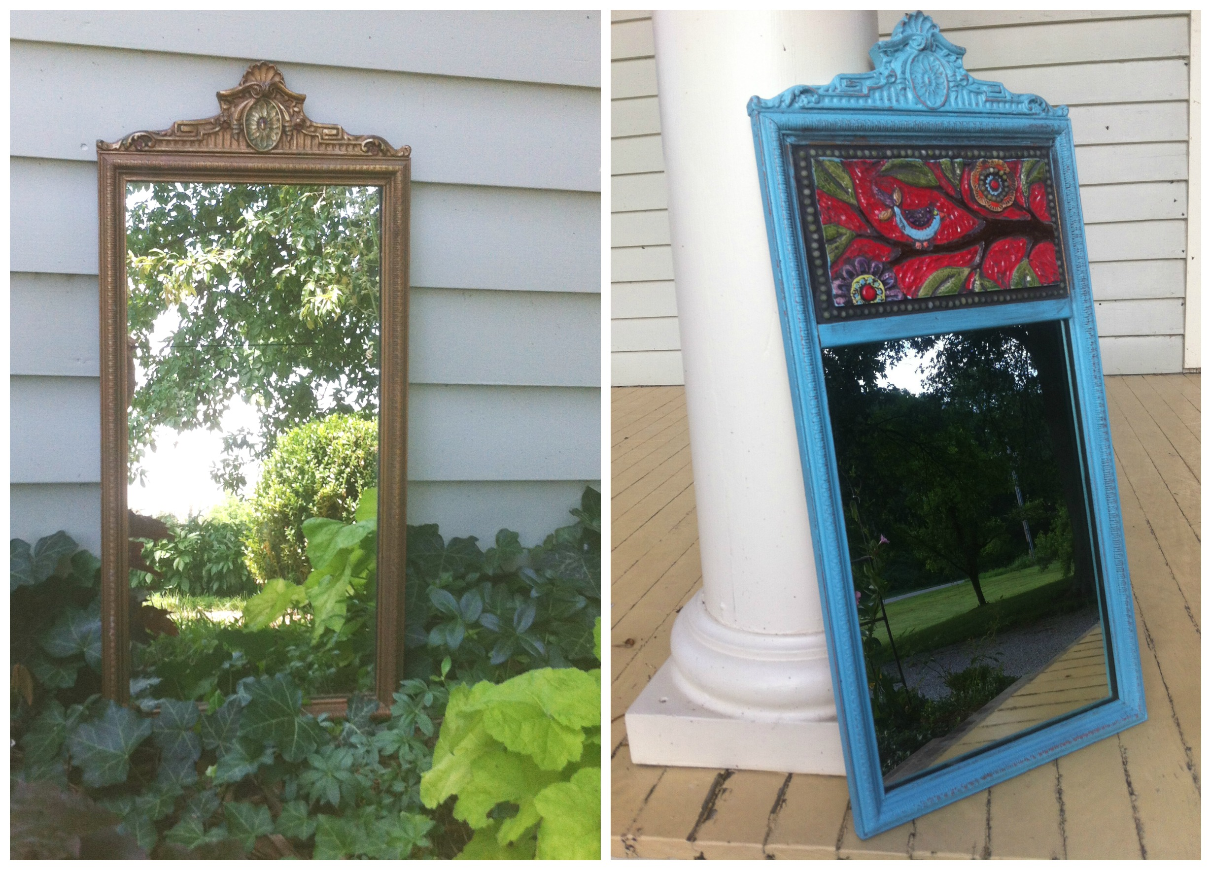 Turquoise Transformed Vintage Mirror