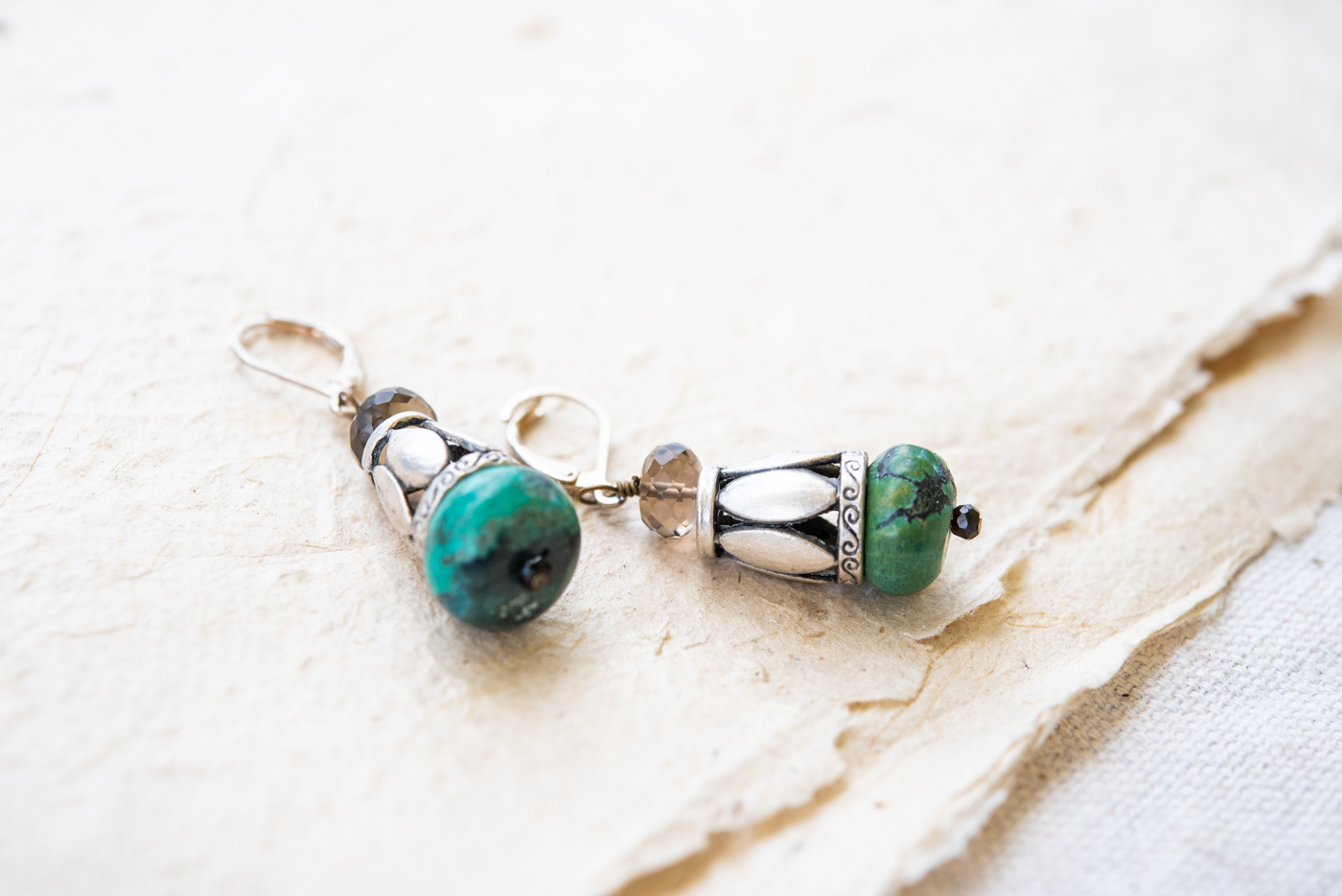 Turquoise and Smoky Quartz Dangle Earrings