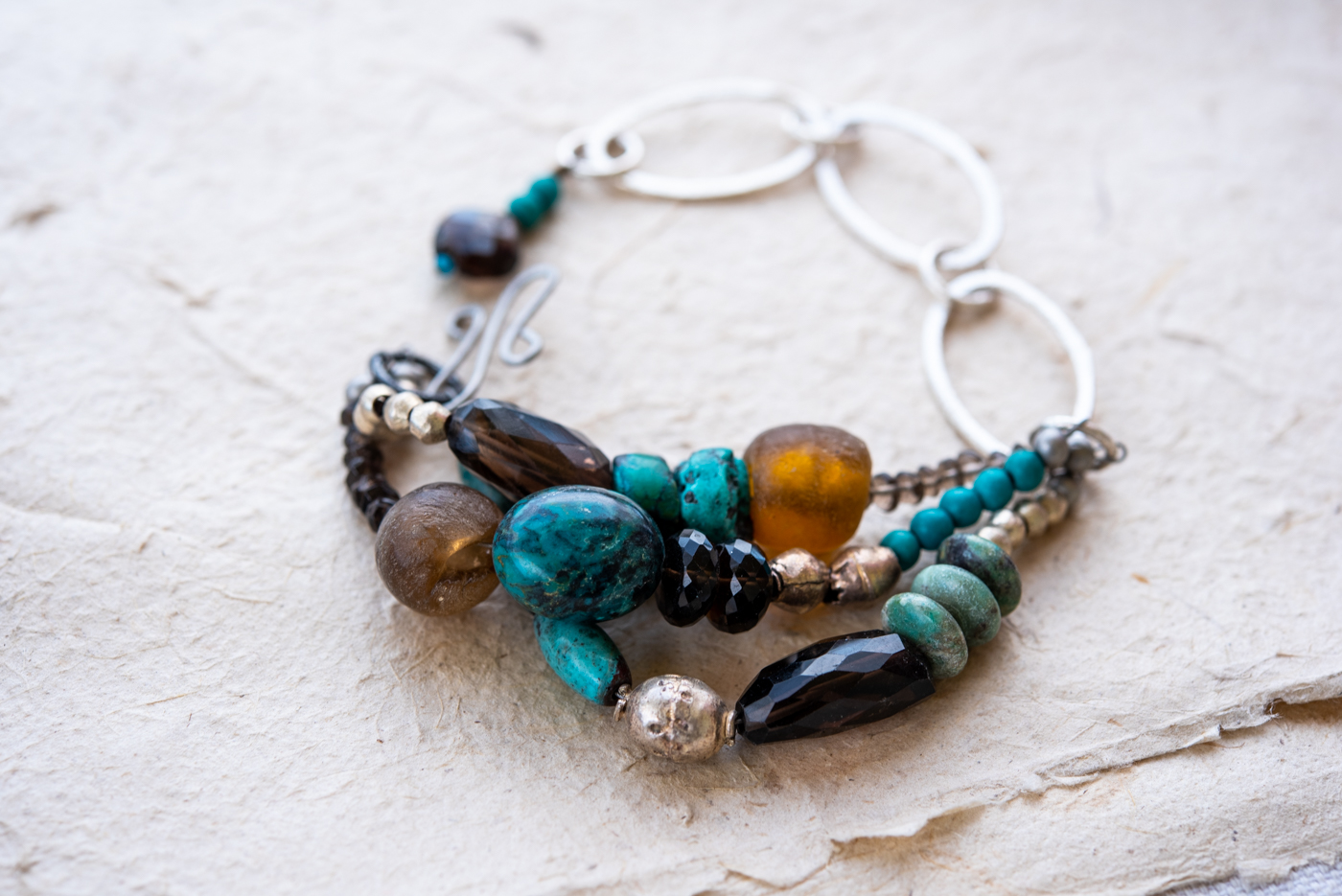 Turquoise and Smoky Quartz Three Strand Chain Link Bracelet