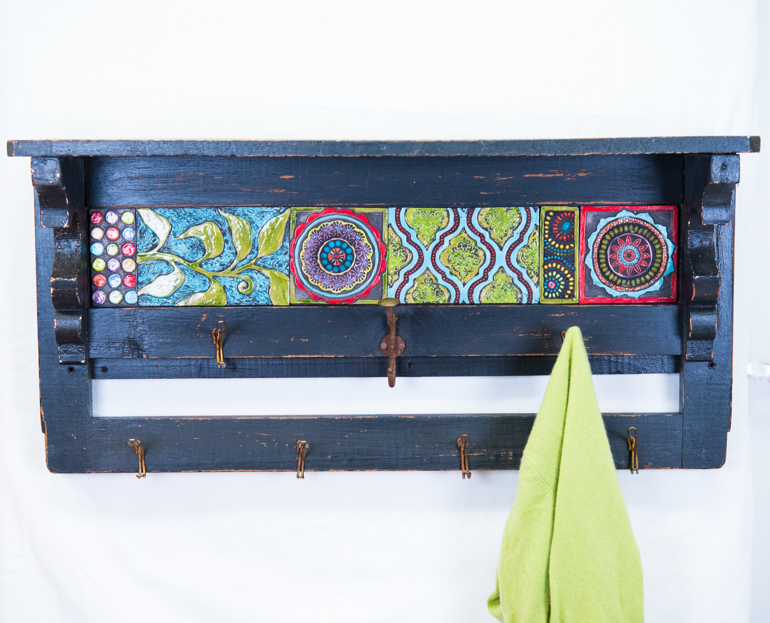 Repurposed Vintage Trim Wall Shelf with Raku Fired Clay Tile Mosaic Art and Vintage Coat Hooks