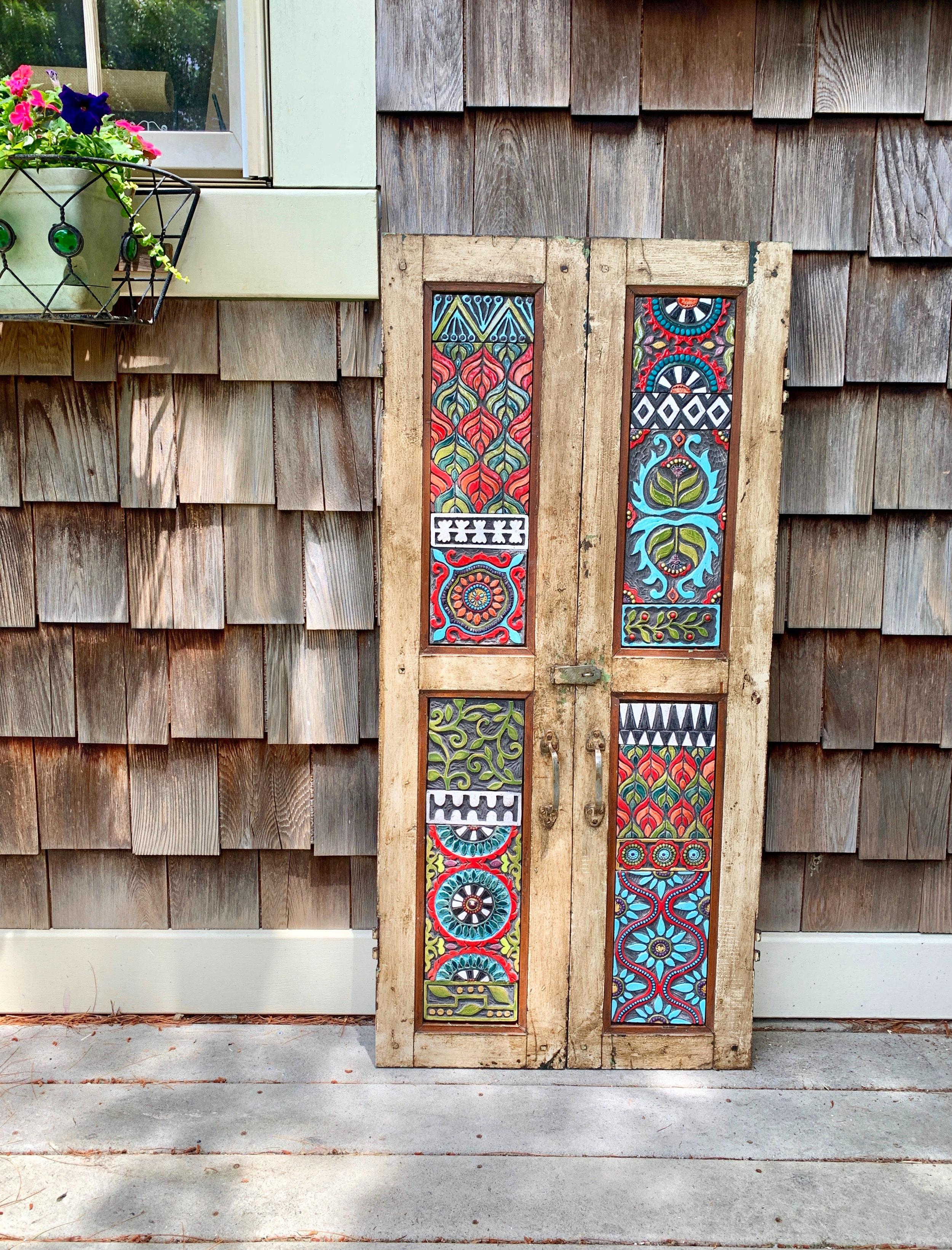 Repurposed Vintage Indian Teak Shutters with Handmade Ceramic Tile Mosaic Art