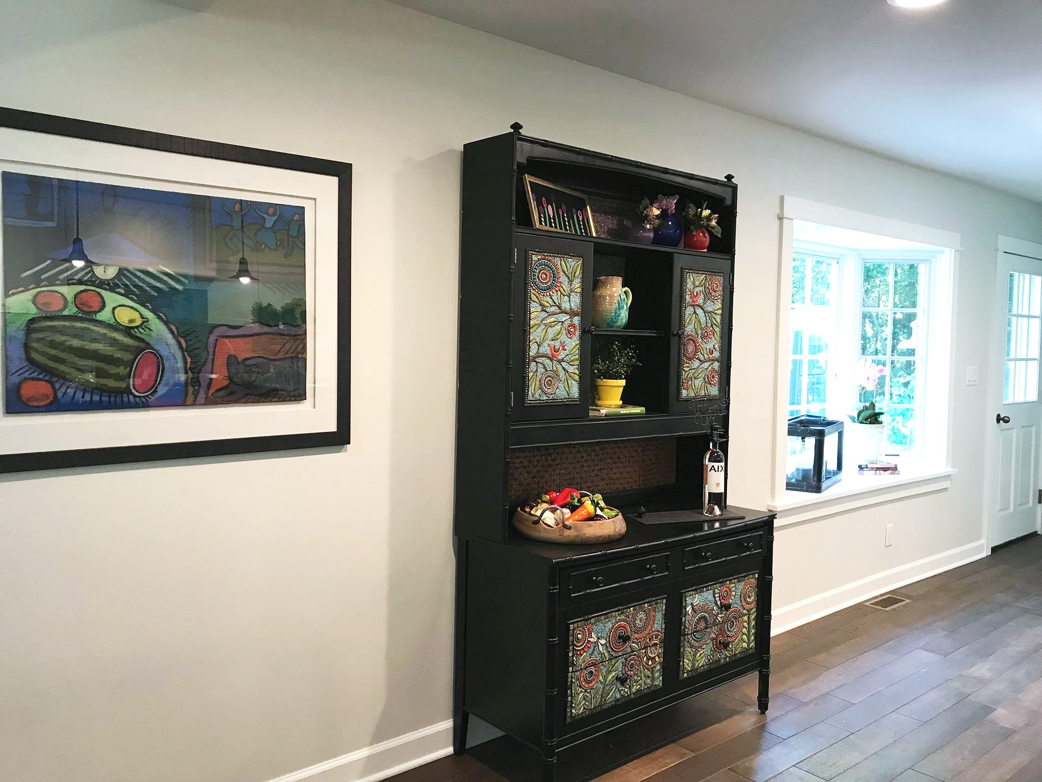 Completed hutch in its new home
