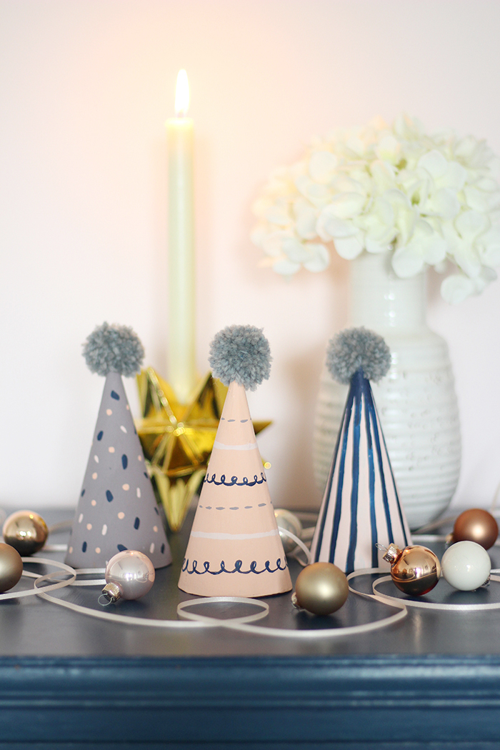 handmade painted pattern party hats dulux christmas diy hello nancy blog.jpg