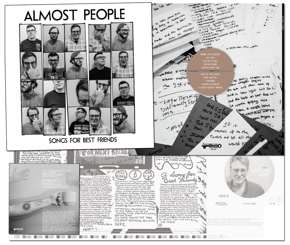 """Almost People 4 Color CMYK LP 12""""with insert and label artwork for Anchorless Records."""