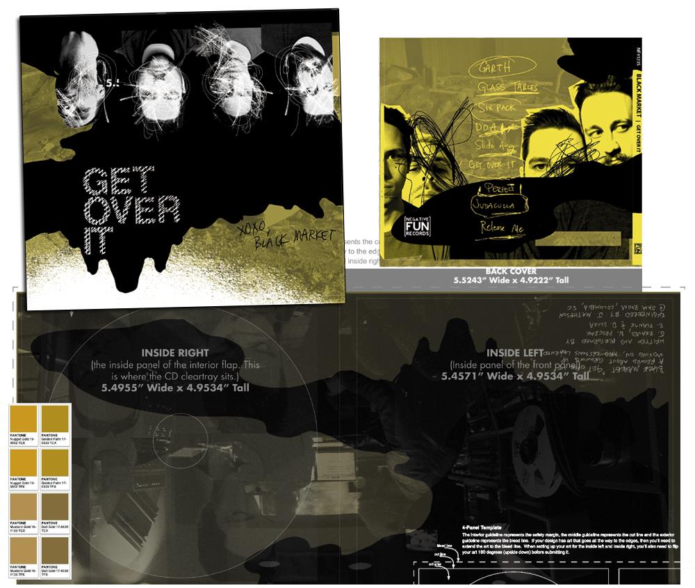 Black Market 4 Color CMYK (with metallic layer)CD & cassette (alternate cover)LP on Negative Fun Records.
