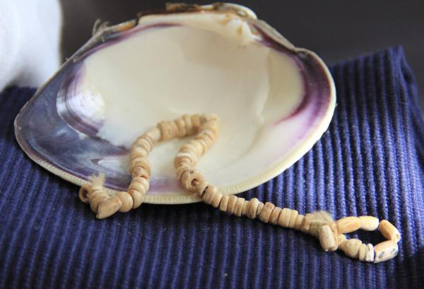 A small strand of 40,000-year-old wampum beads sit in a quahog shell, from which wampum is made. This necklace may be the most impressive piece at the Tomquag Museum.