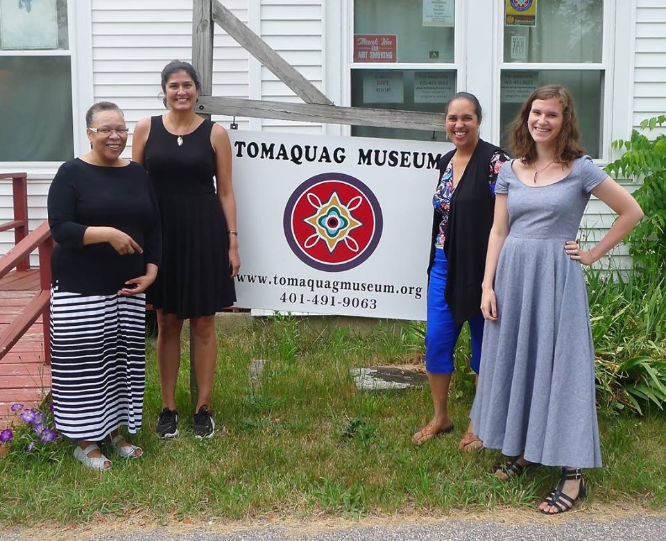 [caption] Kimberly Peters, Stephanie Mach, Lorén Spears, and Lise Puyo at the Tomaquag Indian Memorial Museum in Exeter, Rhode Island. Photo by Margaret Bruchac.