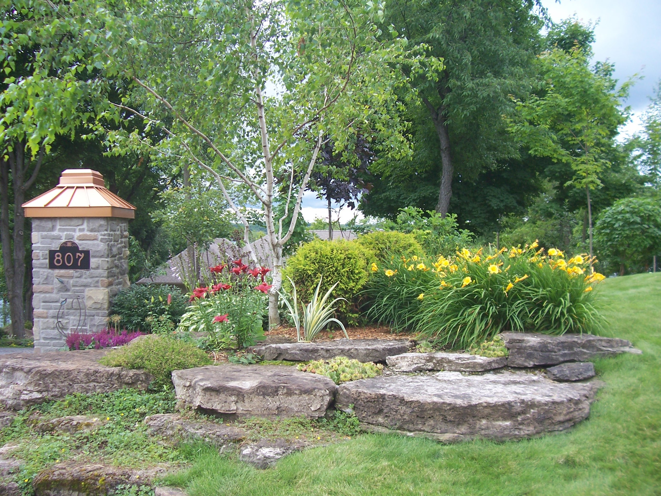 Landscape Design | Terrace Gardens | Dry Lay Stone | Waterfront Dream Home | Riverview Design Solutions | Landscaping | Prescott, Ontario, Canada