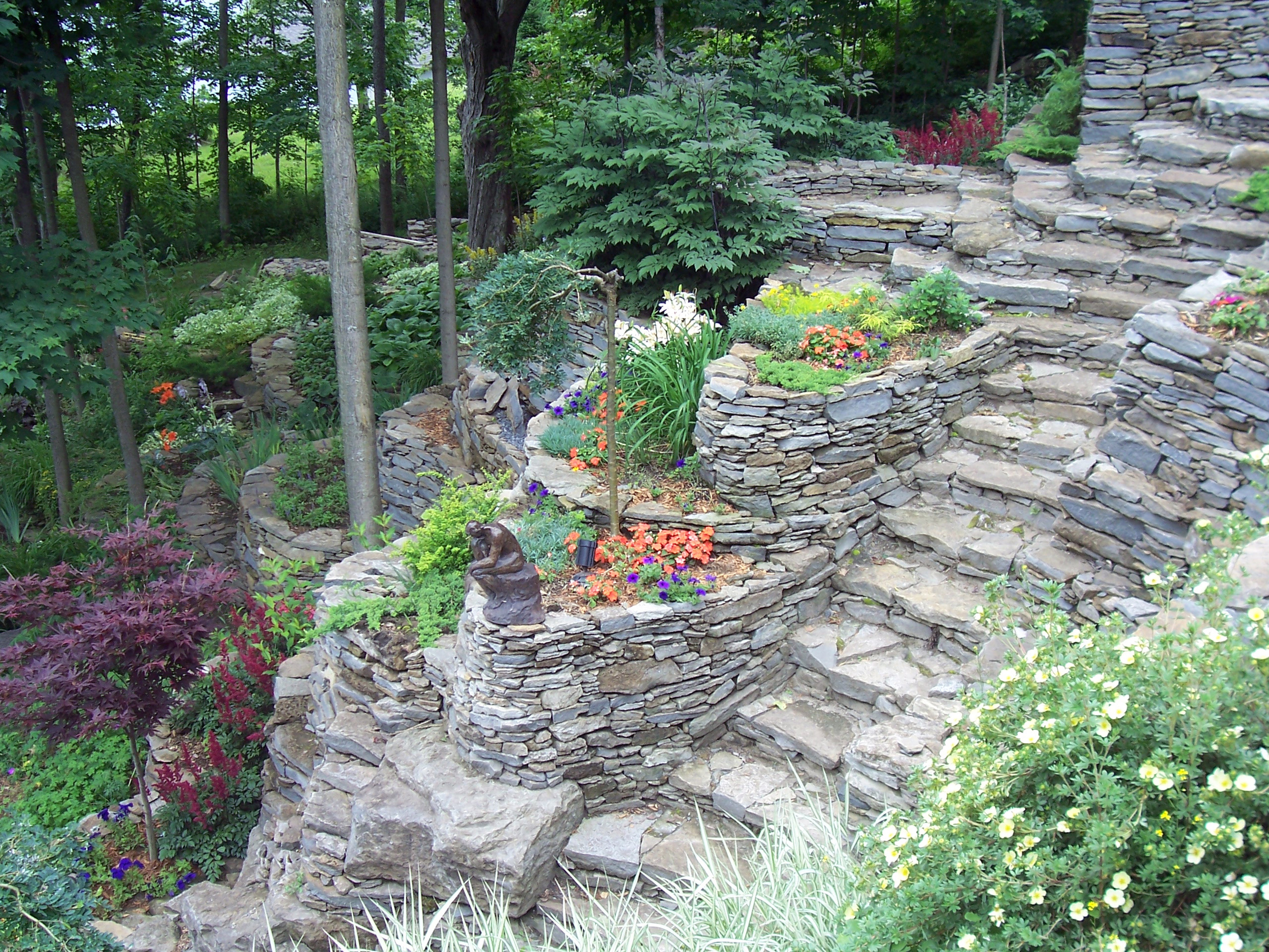Landscape Design | Terrace Gardens | Dry Lay Stone Stairs | Waterfront Dream Home | Riverview Design Solutions | Landscaping | Prescott, Ontario, Canada
