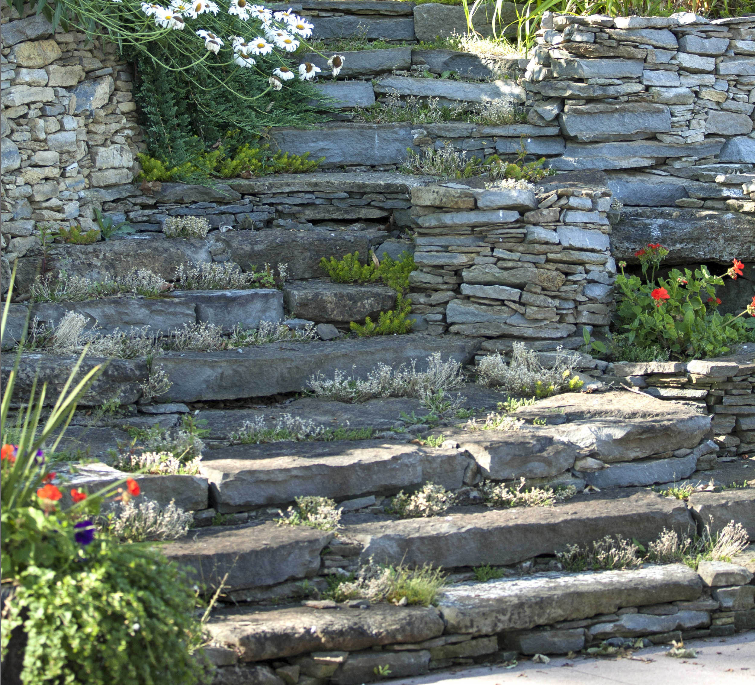 Landscape Design | Landscaping | Terrace Gardens | Dry Lay Stone | Waterfront Dream Home | Riverview Design Solutions | Prescott, Ontario, Canada