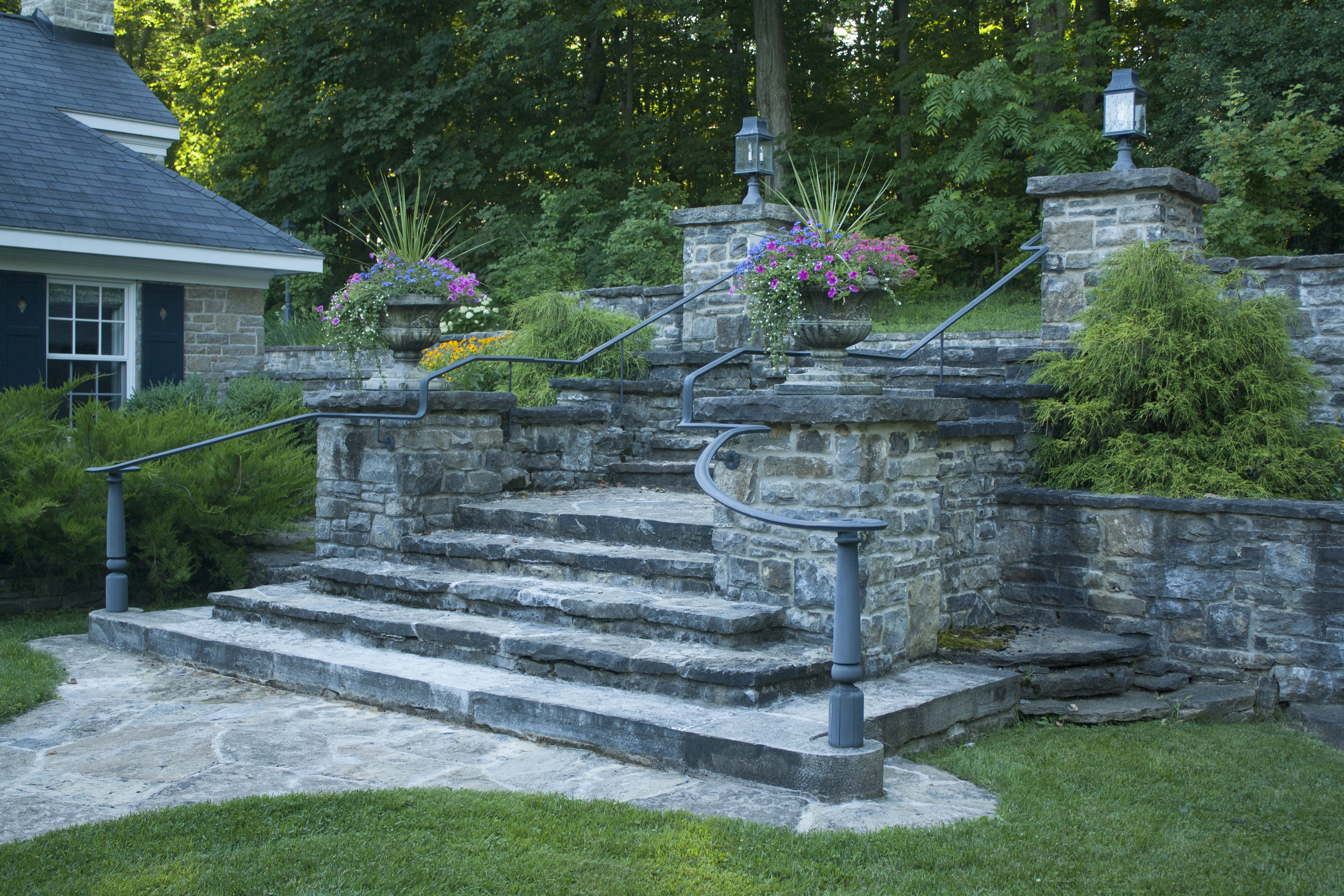 New Home With A Heritage Feel | Stone Staircase | Landscape Architecture | Riverview Design Solutions | Prescott, Ontario, Canada