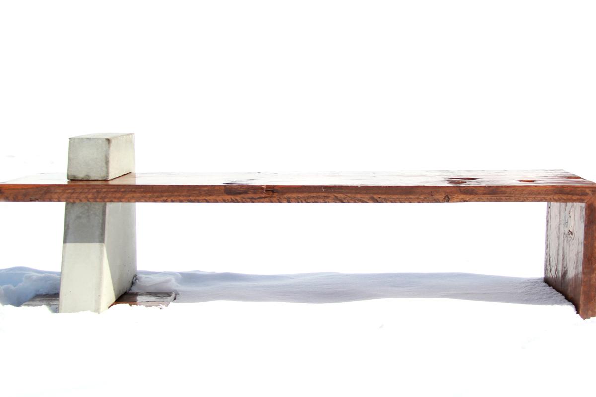 Boathouse Indoor Outdoor Bench | Reclaimed Cedar and Concrete | Riverview Design Solutions | Prescott Ontario Canada