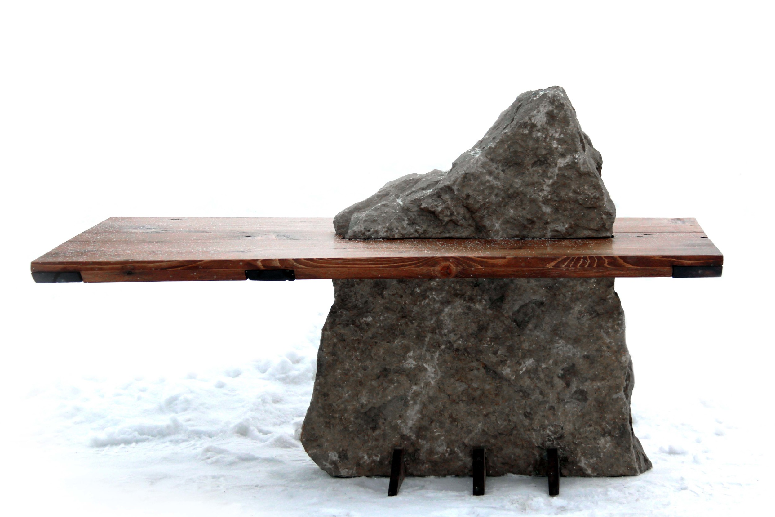 Riverview Design Solutions - Shoreline Coffee Table - Reclaimed Wood - Stone - Thousand Islands.jpg