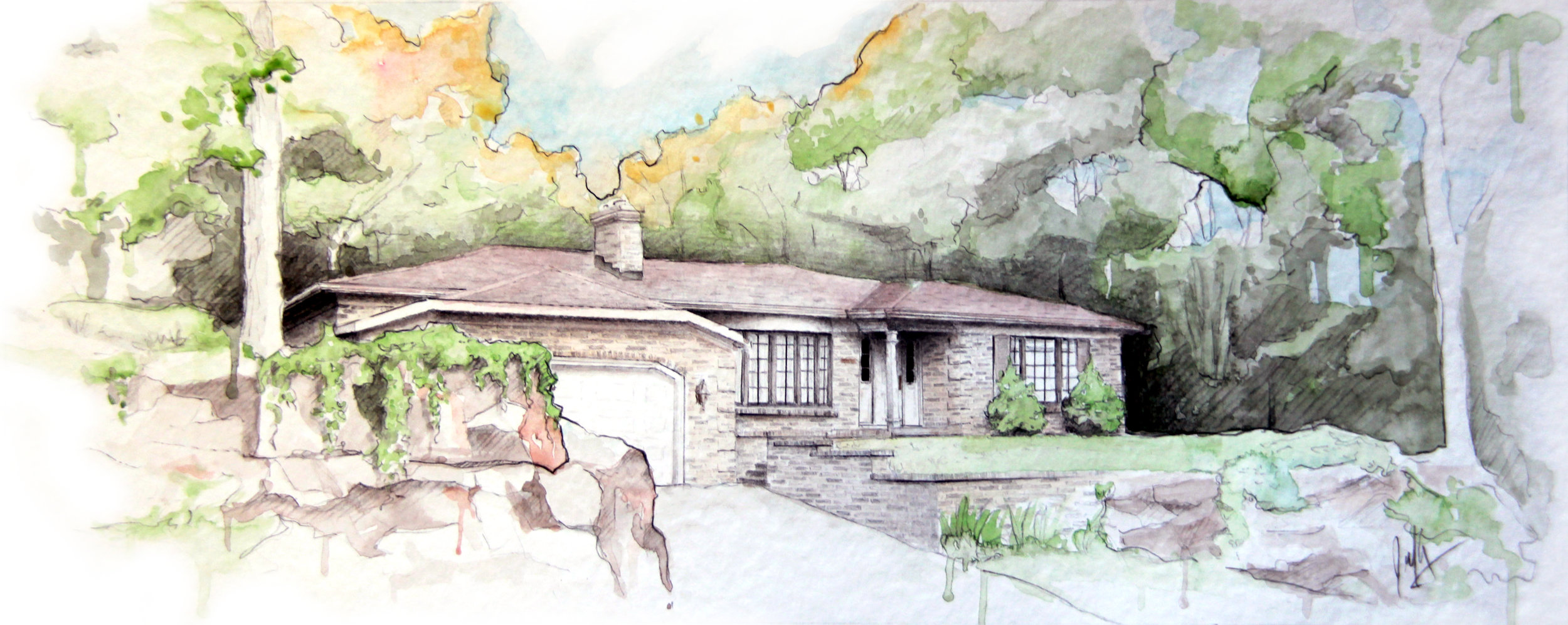 RESIDENTIAL WATERCOLOUR SKETCH