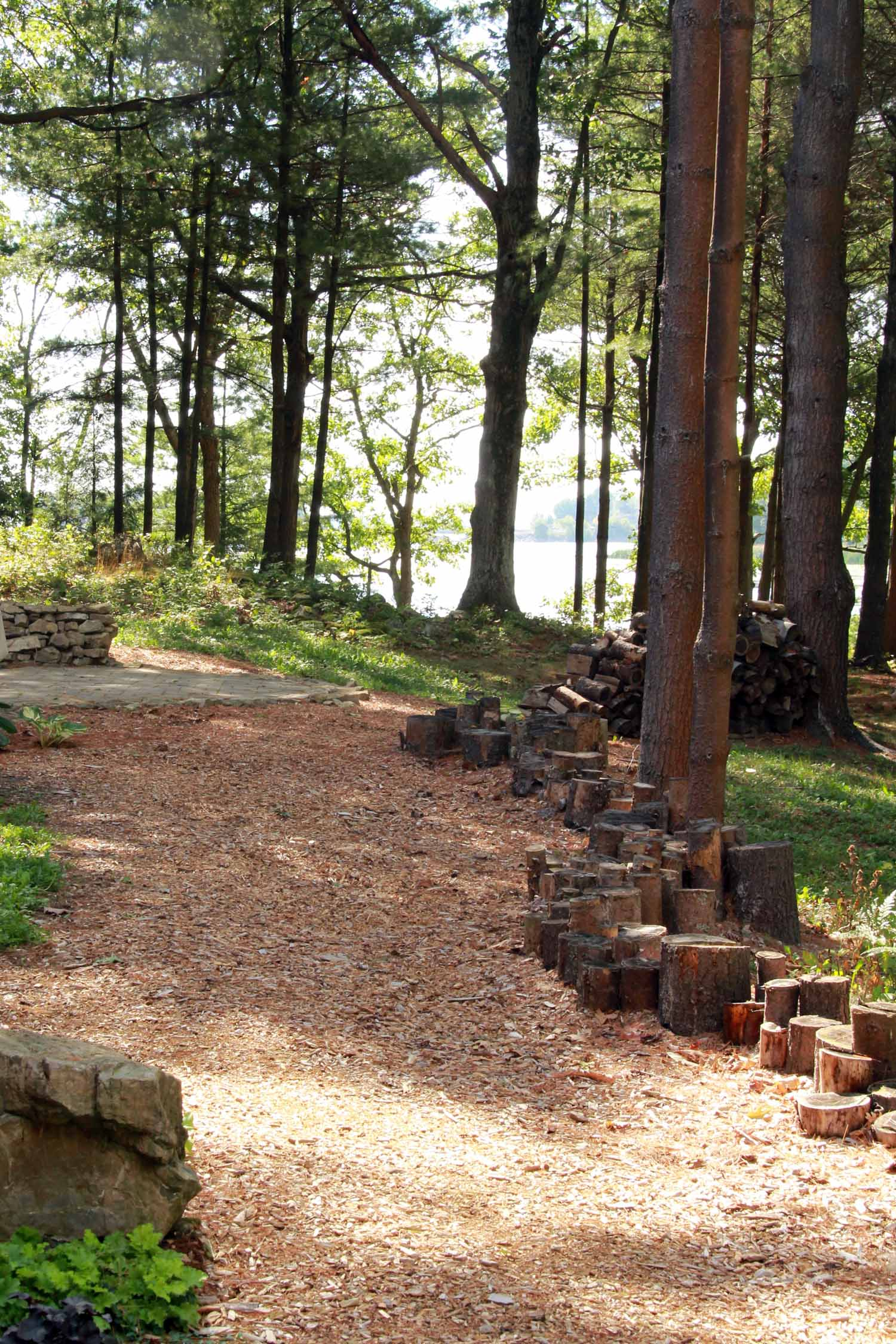 Riverview Design Solutions - Forest landscape Architecture - Log Retaining Wall - Naturalized Landscape.jpg