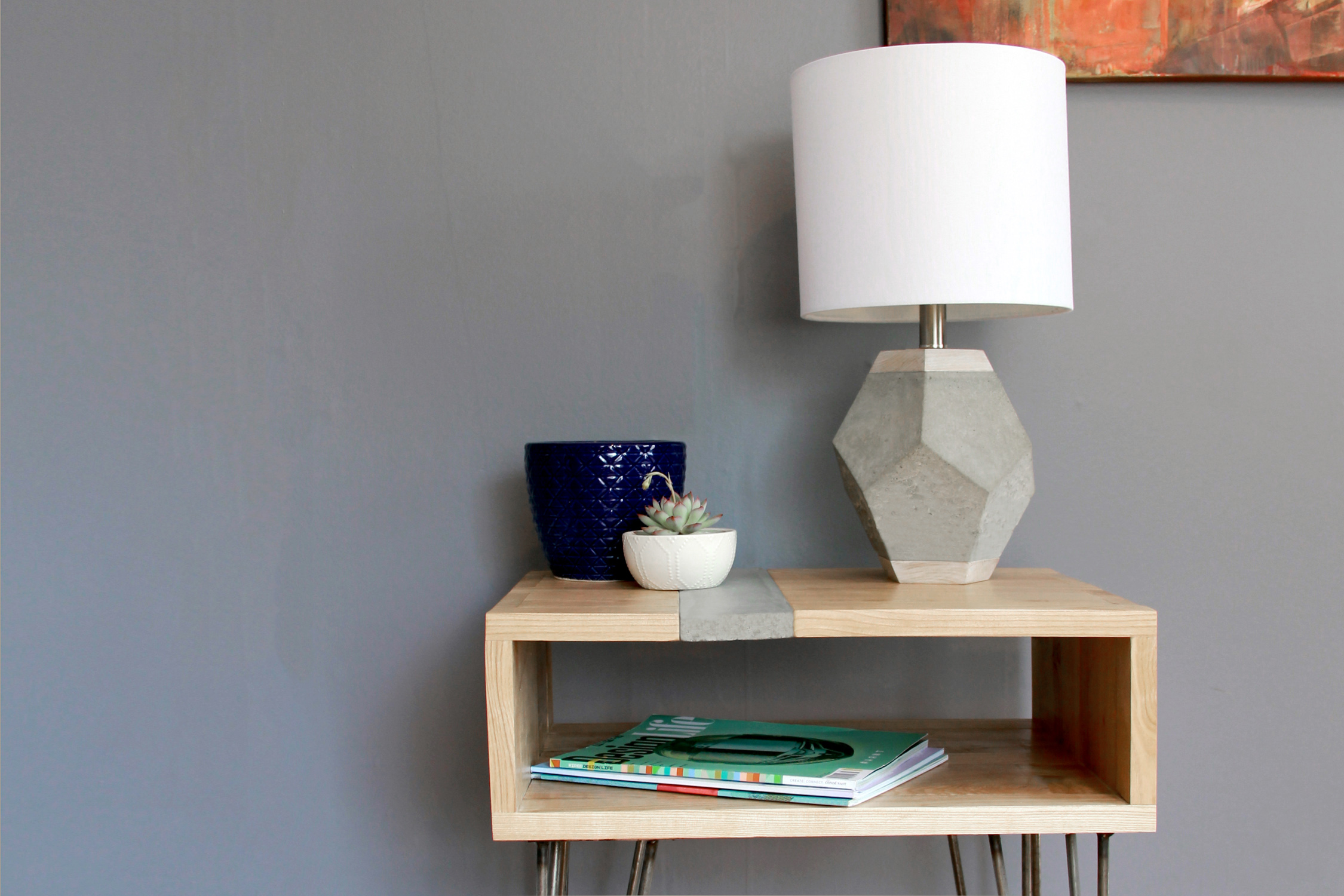 Riverview Design Solutions_Brockville_Concrete and Wood_Side Table_Concrete Lamp.jpg