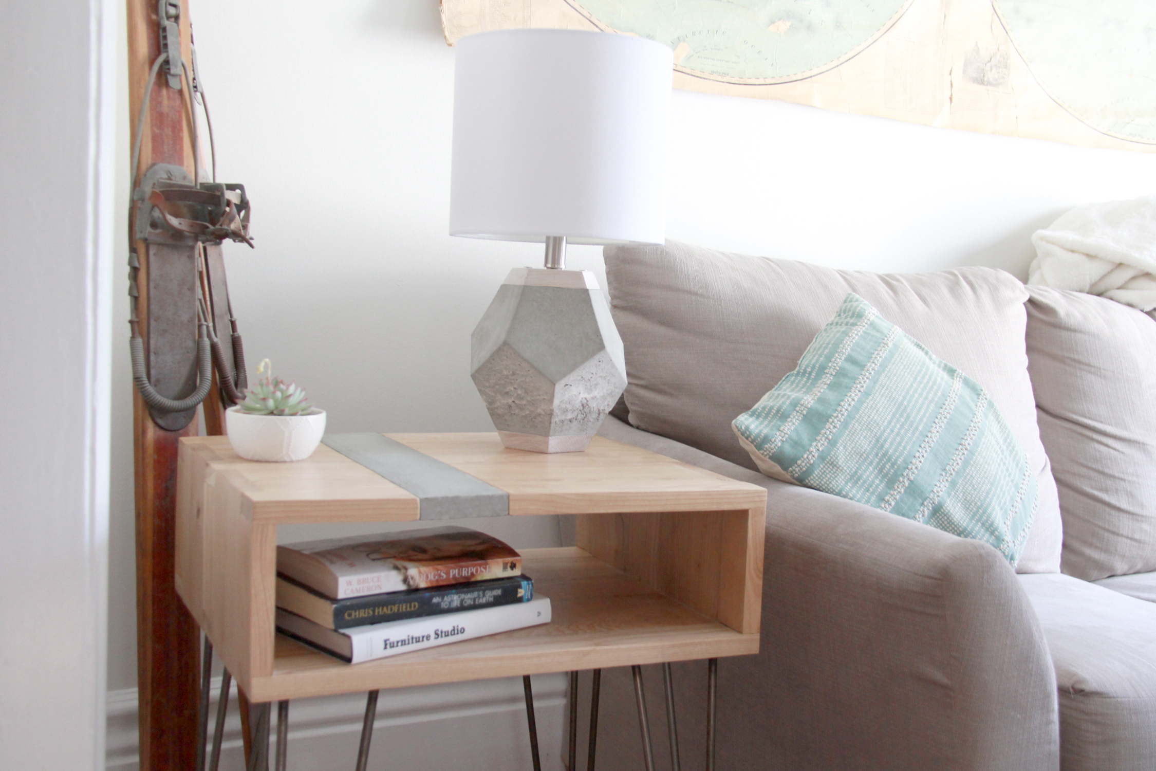 Riverview Design Solutions_Concrete and Ash Wood_Side Table_Geometric Lamp_Brockville.jpg