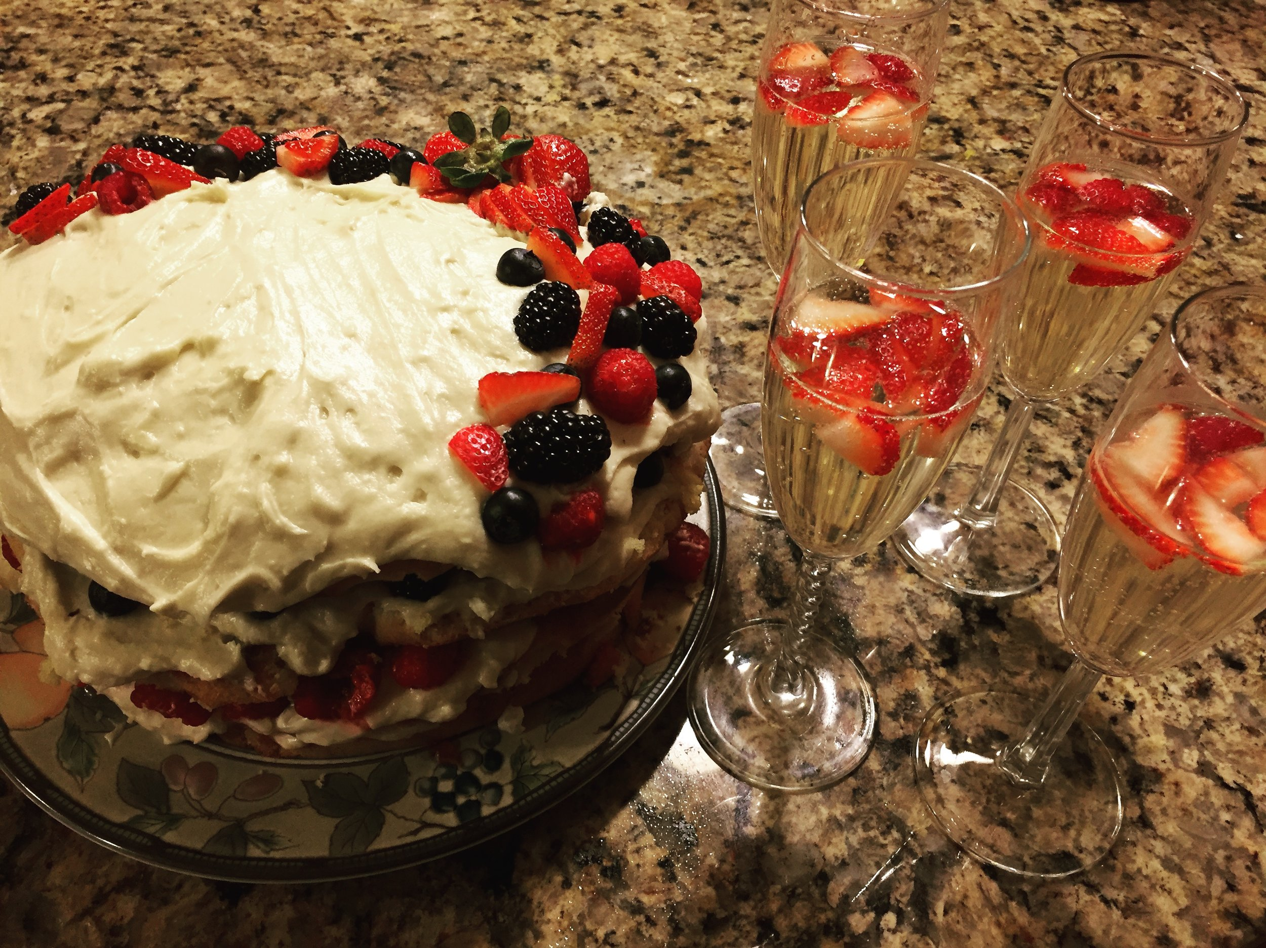 Berry Chantilly Cake with Taranta's Sparkling White Wine
