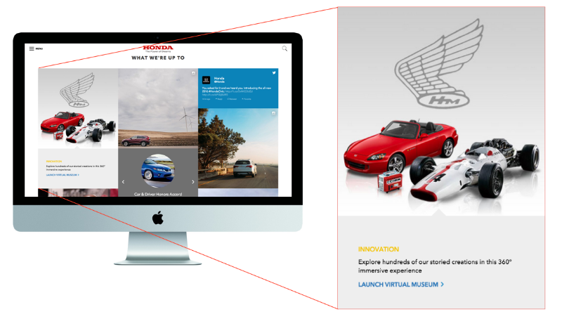 The virtual museum has been given a prominent square on the new homepage grid at Honda.com.