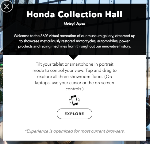 A closer view of the mobile-optimized modal, with a brief description of the experience and user instructions.