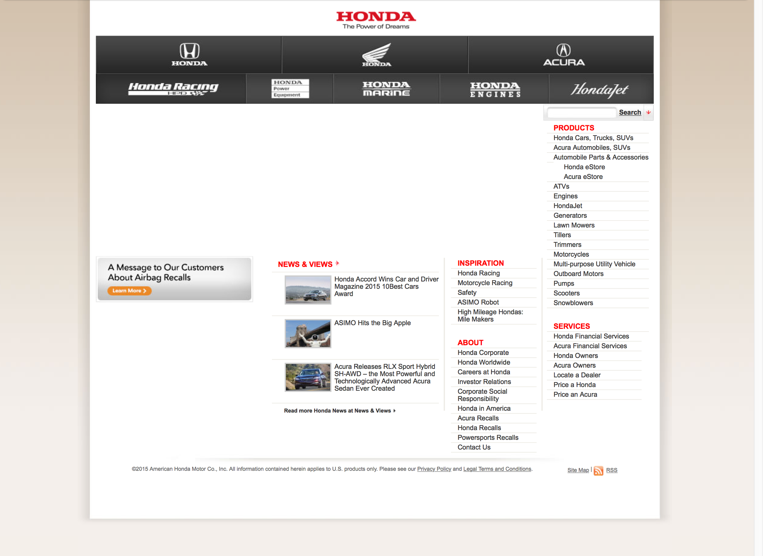 Honda.com at the beginning of 2015. The less said about this the better, but Honda deserved much more.