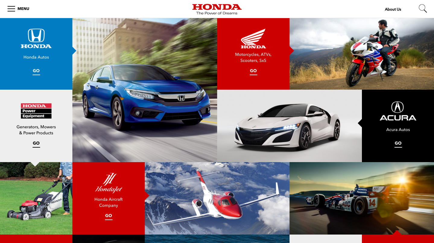That '  s  more like it. This opening grid portal to Honda '  s many brands & products was the first part to launch (plus the hero above it). Then we created lots more...