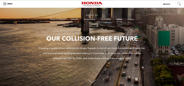 "Honda Safety —  ""Creating a world where collisions no longer happen...    """