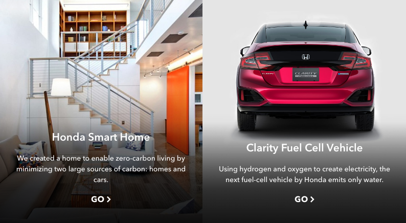 Two more lesser-known Honda initiatives are their sustainable   smart home  and a car that emits nothing but  water vapor .