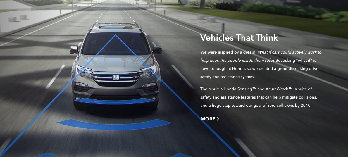 """""""Vehicles That Think    """"    — Honda  's safety goals will be supported by cars with advanced automation and enhanced awareness."""