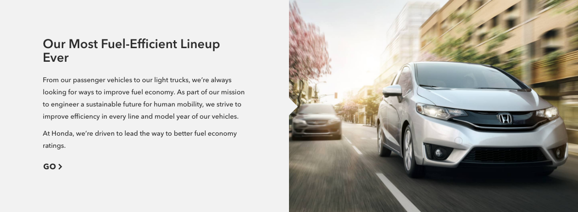 """""""Our Most Fuel-Efficient Lineup Ever    """"    — Leading the way and getting better all the time."""