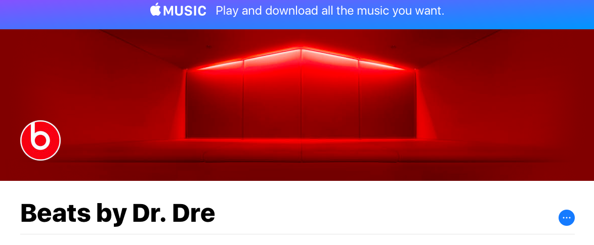 The main page for the new Apple Music Curator Channel for Beats by Dr. Dre.