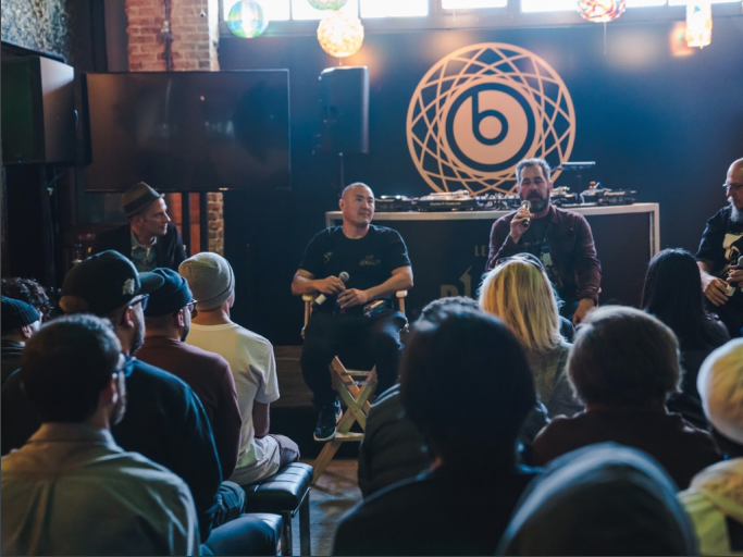 The Beats Arts & Culture Panel at the Record Parlour, Friday, February 16, 2018. From left to right: Moderator Aaron Rose and panelists Alex Kizu aka Defer, Mike Miller, and Estevan Oriol.