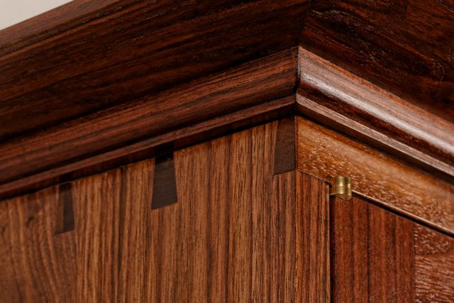 Maple Burl and Walnut Wall Cabinet Dovetail Joinery