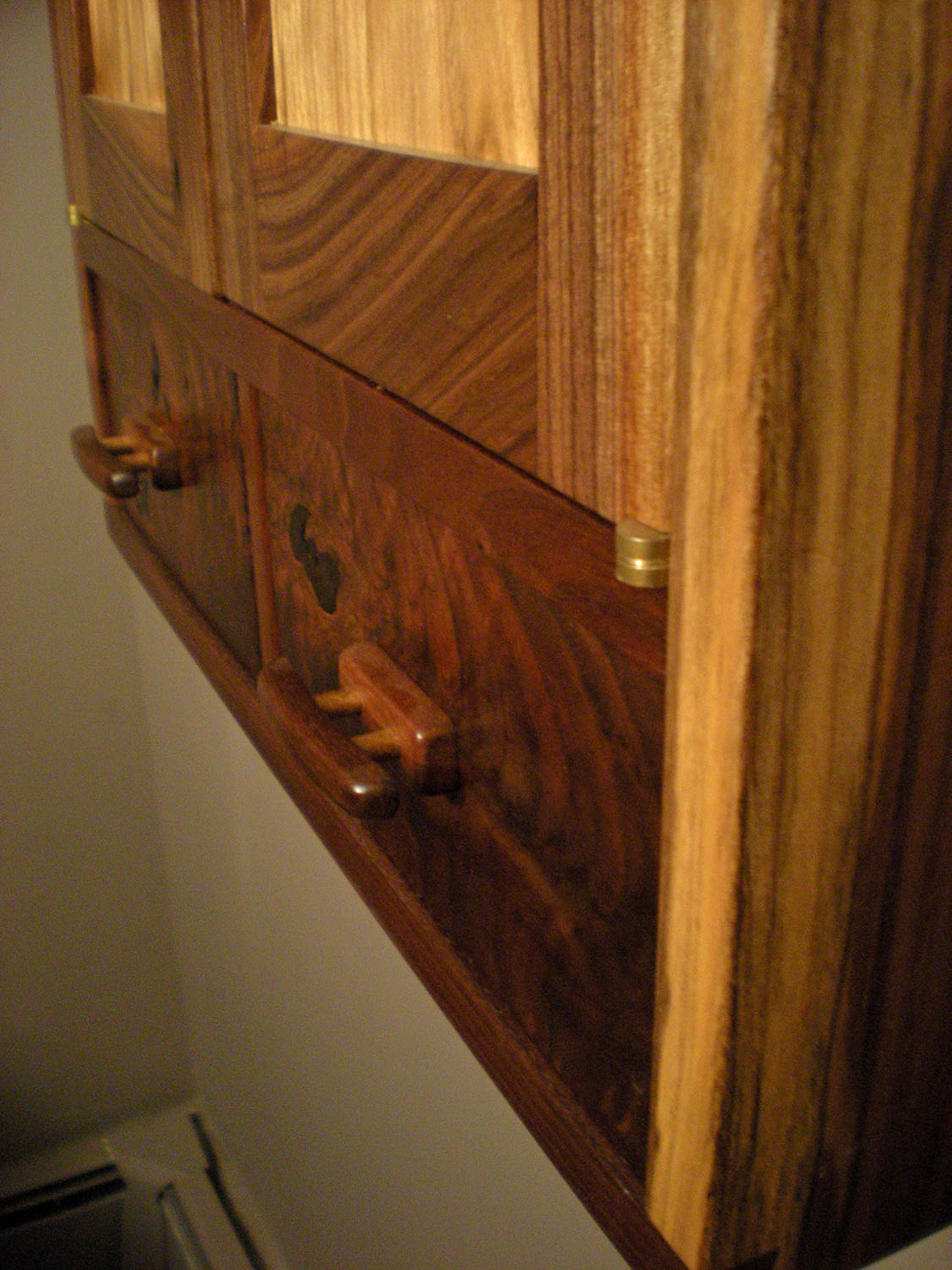Walnut and Butternut Wall Cabinet Drawer Detail