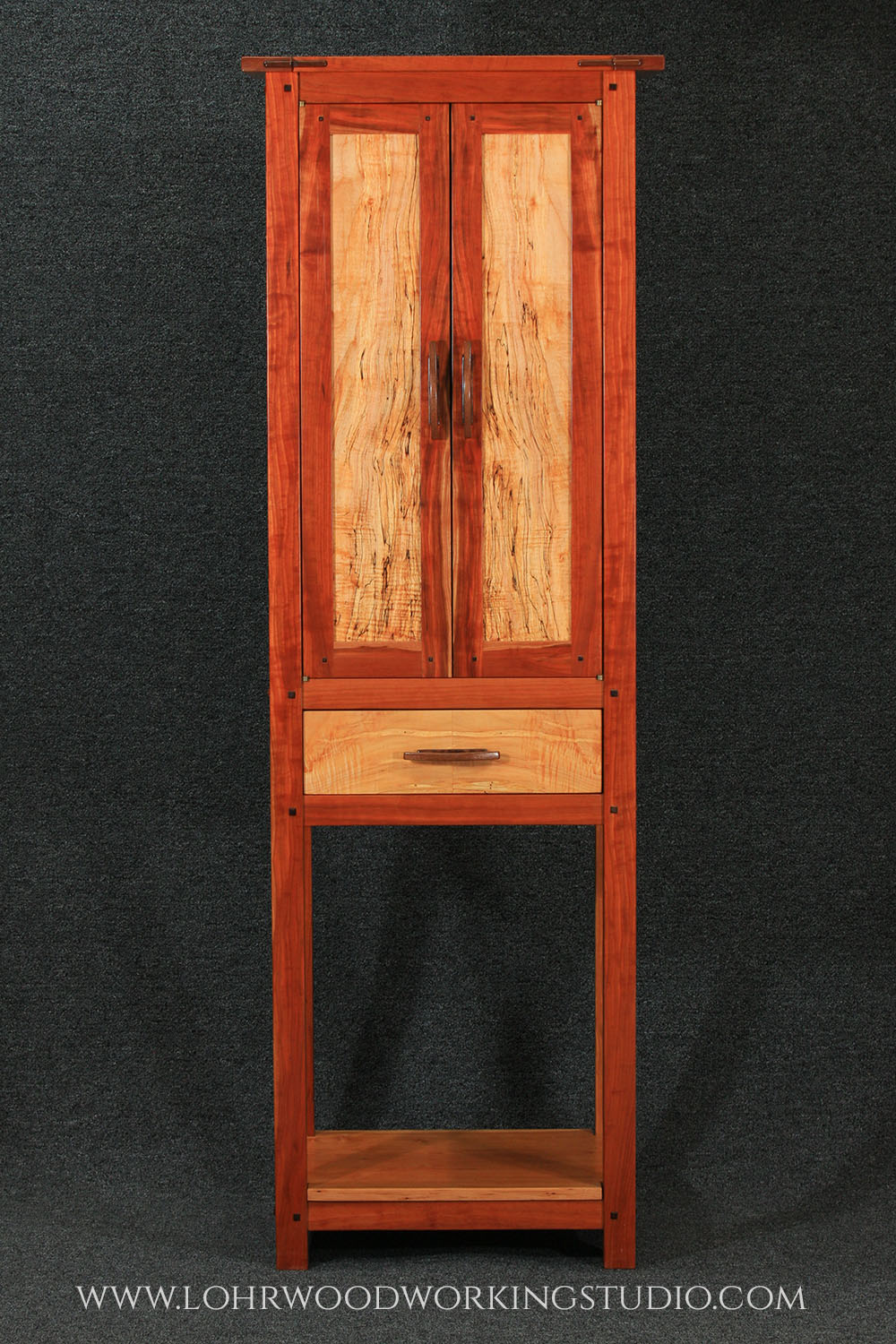 Cherry Wine & Spirits Cabinet with Spalted Maple Panels