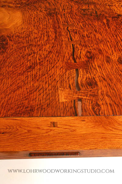 English Brown Oak Burl Dining Table Breadboard End & Butterfly Inlay Detail