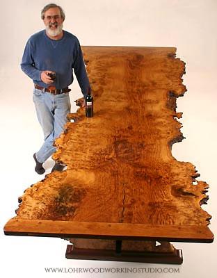 English Brown Oak Burl Dining Table Top
