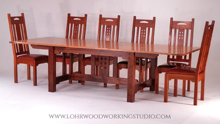 Arts & Crafts Style Cherry Dining Table and Chairs