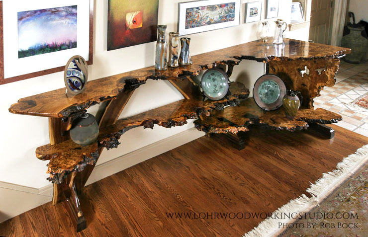 English Brown Oak Burl Sideboard
