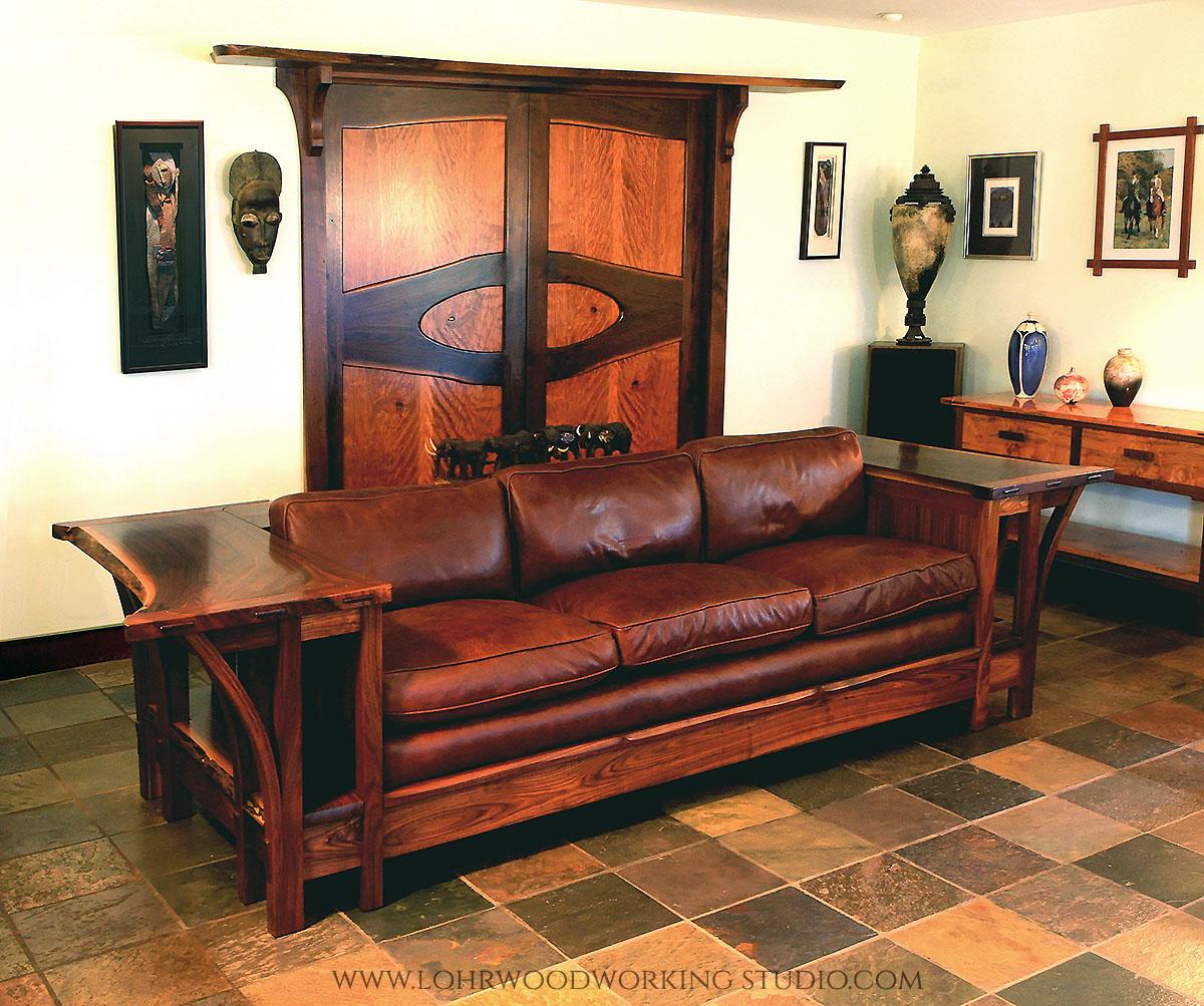 Live Edge Walnut Table Sofa
